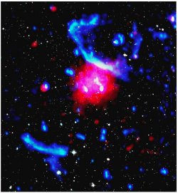 PLCK G287.0+32.9 is a galaxy cluster for which the clumped galaxy distribution (optical in white) and disturbed hot intra-cluster gas (X-rays in red; radio in blue) indicates that this system underwent a recent major merger. From Bonafede, Intema et al. (2014)
